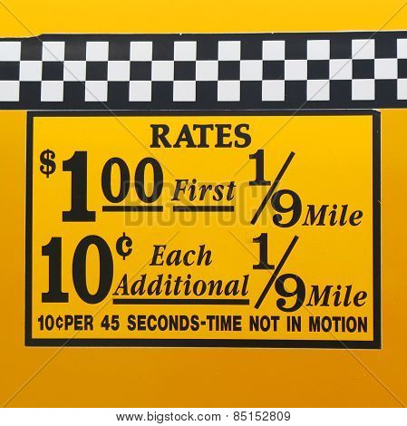 New York City taxi rates decal. This rate was in effect from April 1980 till July 1984