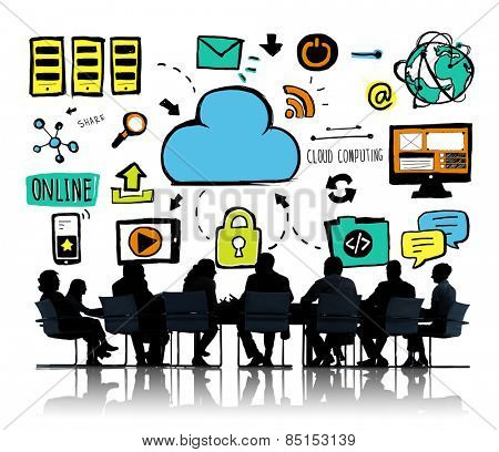 Business People Cloud Computing Brainstorming Meeting Concept