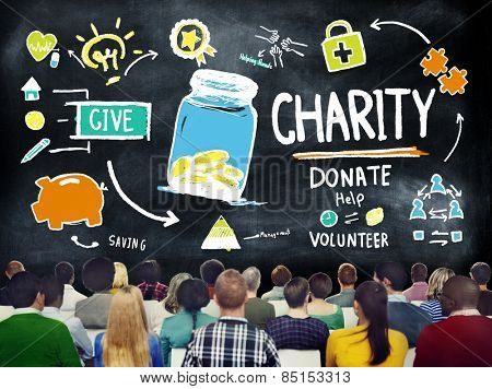 Crowd People Seminar Give Help Donate Charity Concept