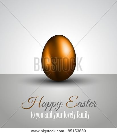 Happy Easter Background with a Colorful Egg with Shadow and greeetings text to use for elegant cards or event invitations or advertisement purposes
