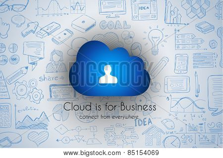 Cloud Computing concept with infographics sketch set: design elements isolated, vector shapes. It include lots of icons included graphs, stats, devices,laptops, clouds, concepts and so on.