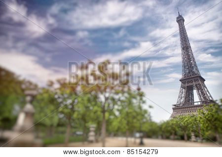 Eiffel tower in Paris, France. Tilt shift photography