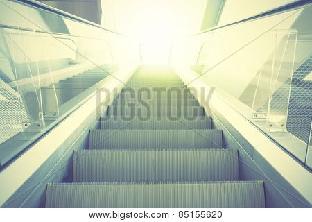 Escalator. Retro style filtred image