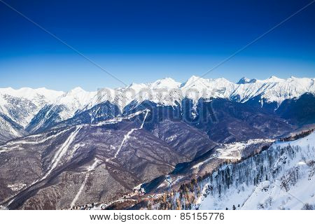 Breathtaking Caucasus mountains top view in winter