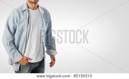Man wearing casual shirt -Clipping path included