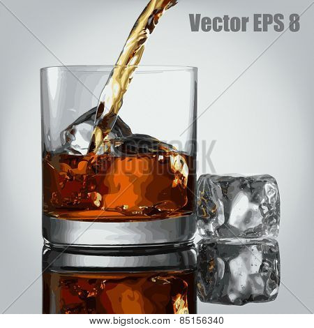 Pouring Glass of scotch whiskey and ice, vector eps 8