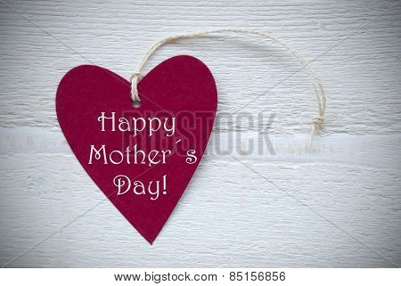 Red Heart Label With Happy Mothers Day