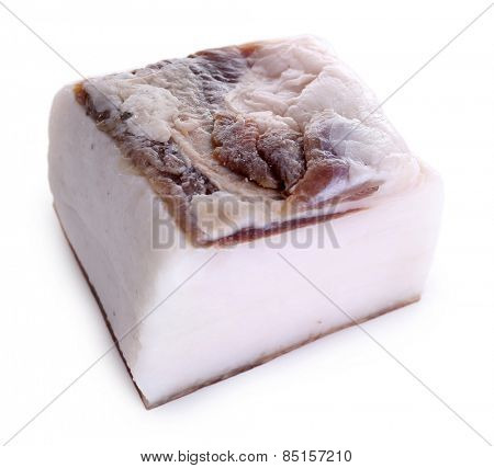 Piece of salted lard isolated on white