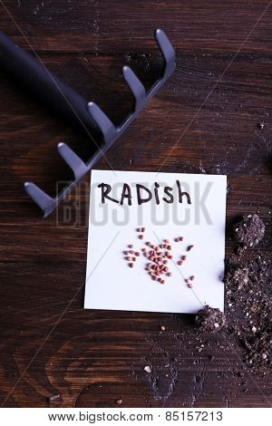 Radish seeds on piece of paper with ground and rake on wooden background
