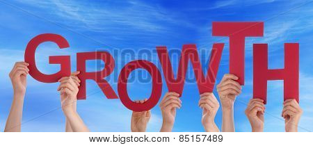 Many People Hands Holding Red Word Growth Blue Sky