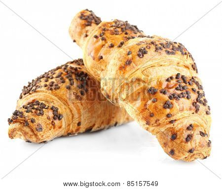 Fresh and tasty croissants with chocolate, isolated on white