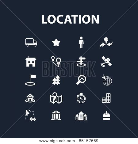 location, route, map, navigation icons, signs, illustrations concept design set, vector