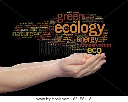 Concept or conceptual abstract green ecology, conservation word cloud text in man hand on black background for environment, recycle, earth, clean, alternative, protection, energy, eco friendly or bio
