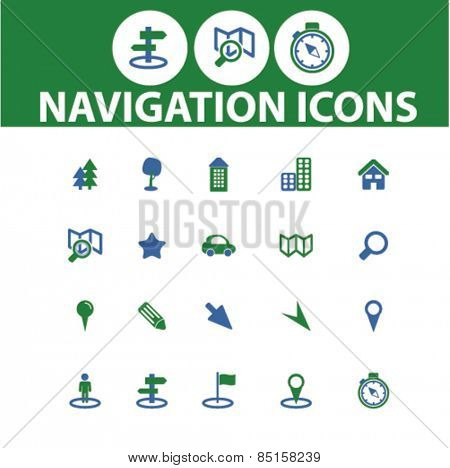 navigation, route, road, map icons, signs, illustrations concept design set, vector
