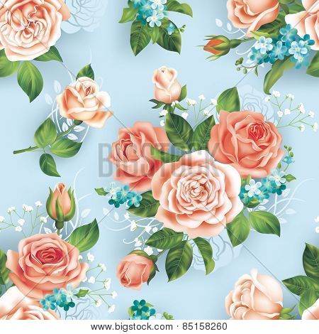 Seamless blue pattern with roses. Vector eps 10.