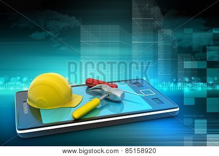 Smart phone and under construction sign