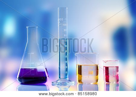 Laboratory tubes with colored liquids inside