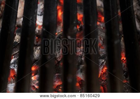 Flaming hot cooking grates- selective focus