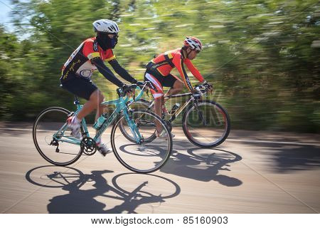 Thailand,saraburi-dec6 :people Wearing Full Protection Rider Suit Riding Roadsbicycle With Speed Mot