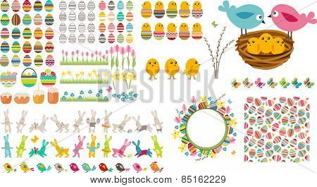 Big Easter collection with eggs,chickens and rabbits