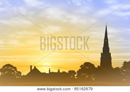 Church Spire with Misty Sunset, Sunrise. Vector EPS 10