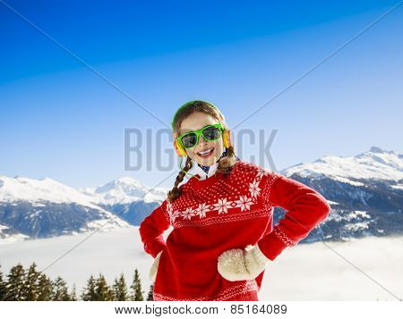 Winter vacation - girl enjoying winter