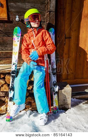 Ski, winter vacation, snow - girl enjoying ski vacations in Swiss Alps