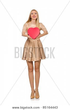 Happy woman holding giftbox isolated on the white