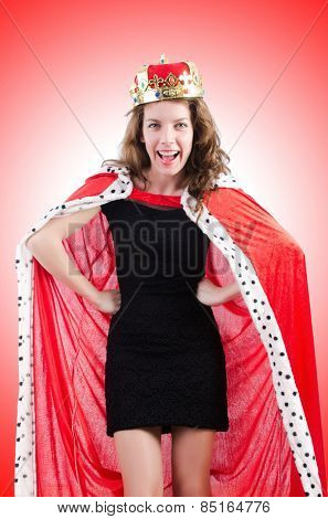 Woman queen in funny concept