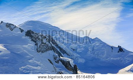 Mont Blanc over Chamonix, view from Aiguille du Midi