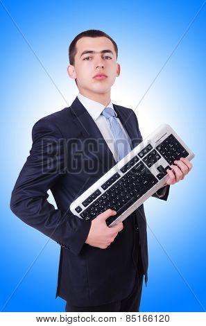 Computer geek nerd in funny concept