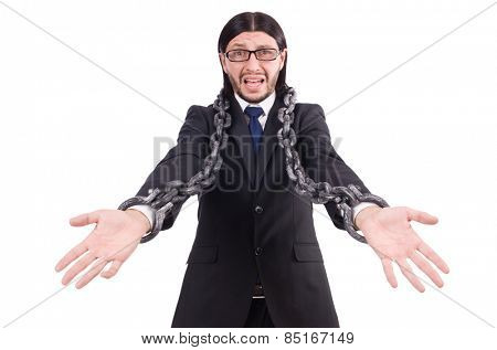 Man with chain isolated on the white