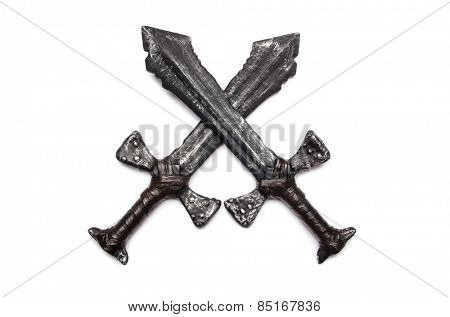 Medieaval swords isolated on the white