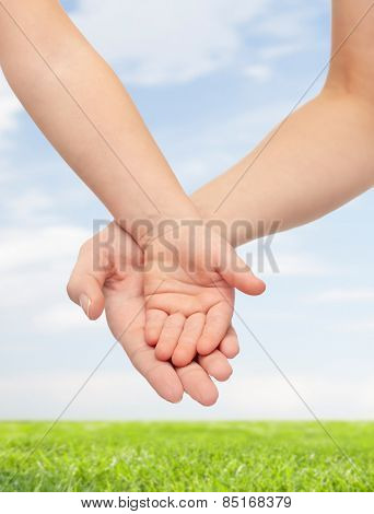 people, charity, family, children and advertisement concept - close up of woman and little child hands holding empty palms over blue sky and grass background