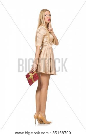 Happy woman holding giftbox isolated