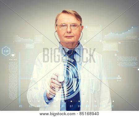 healthcare and medicine concept - calm standing doctor or professor with stethoscope and cardiogram