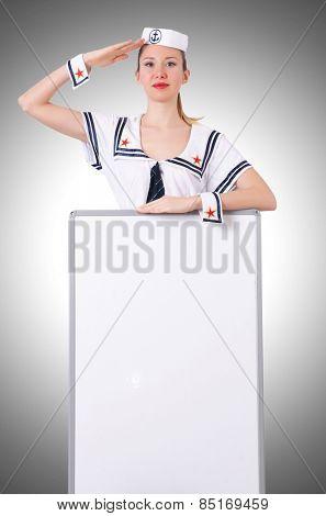 Stewardess with blank board