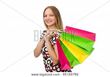 Young woman after shopping isolated