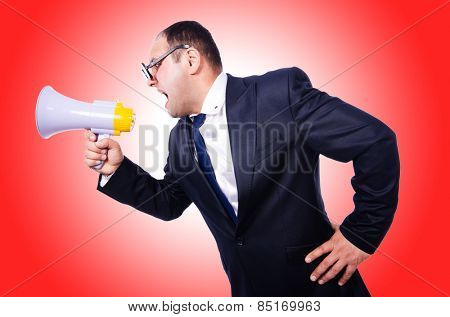 Funny man with loudspeaker