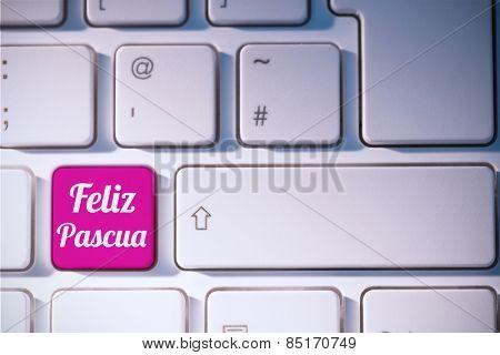 feliz pasqua against pink key on keyboard