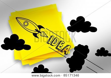Idea and innovation graphic against sticky note