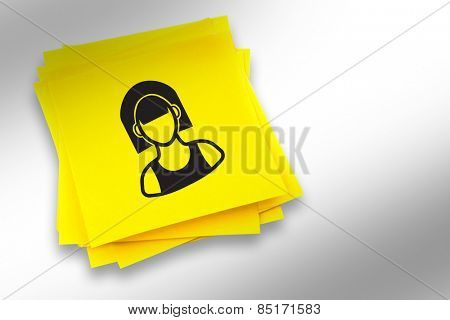 Hipster graphic against sticky note