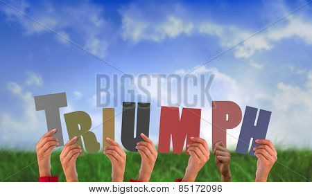 Hands holding up triumph against field of grass under blue sky