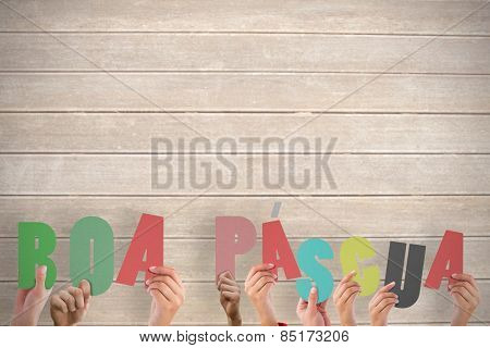 Hands holding up boa pasqua against wooden surface with planks