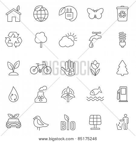 Eco line icons set .Vector