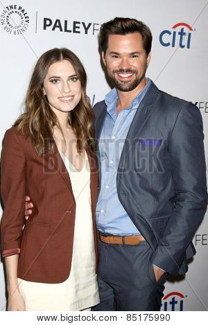 LOS ANGELES - MAR 8:  Allison Williams, Andrew Rannells at the PaleyFEST LA 2015 -