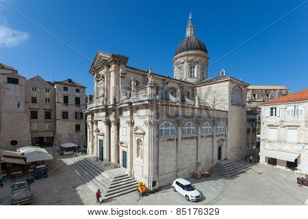 DUBROVNIK, CROATIA - MAY 27, 2014: Cathedral of the Assumption of the Virgin Mary. Inside of cathedral is a number of important paintings including one by Tatian and an extensive treasury