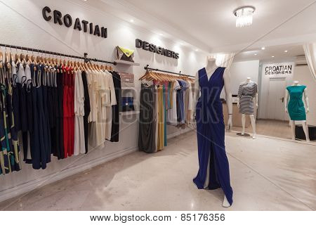 DUBROVNIK, CROATIA - MAY 28, 2014: Interior of the Croatian Designer Room. Clothes by the most renowned Croatian designers all in one boutique.