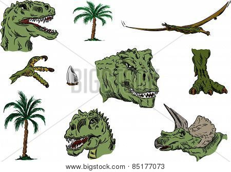 vector - color set of dino head, hand draw, isolated on background