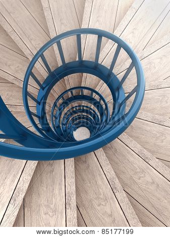 Spiral Stairs With Blue Balustrade